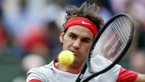 Roger Federer in action at the French Open in Paris