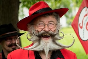 German competitor Gerhard Knapp posing for the media during the European Beard and Moustache Championships in Urdorf, Switzerland