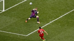 Tarik Camdal slots the ball past Rob Elliot to give Turkey a 2-0 lead at Aviva Stadium