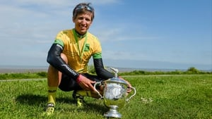 Stage 8: Clemens Fankhauser poses with his prize after triumphing in the An Post Rás