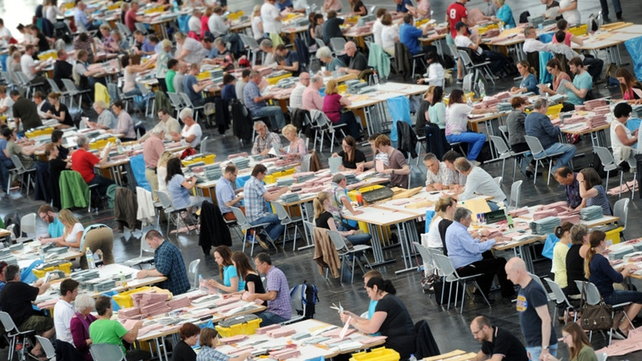 Votes are counted in Germany, the most populous country in the EU, sends 96 MEPs to EU Pic: EPA