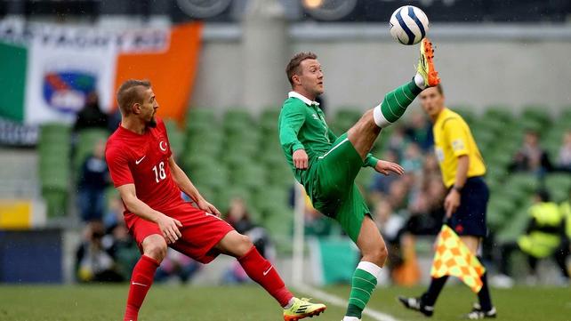 Aiden McGeady in action last night at the Aviva Stadium