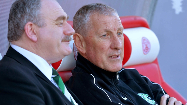Hibernian chairman Rod Petrie with manager Terry Butcher