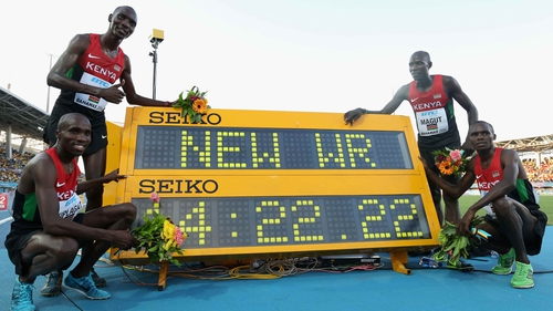 Collins Cheboi, Silas Kiplagat, James Kiplagat Magut and Aspel Kiprop celebrate their world record