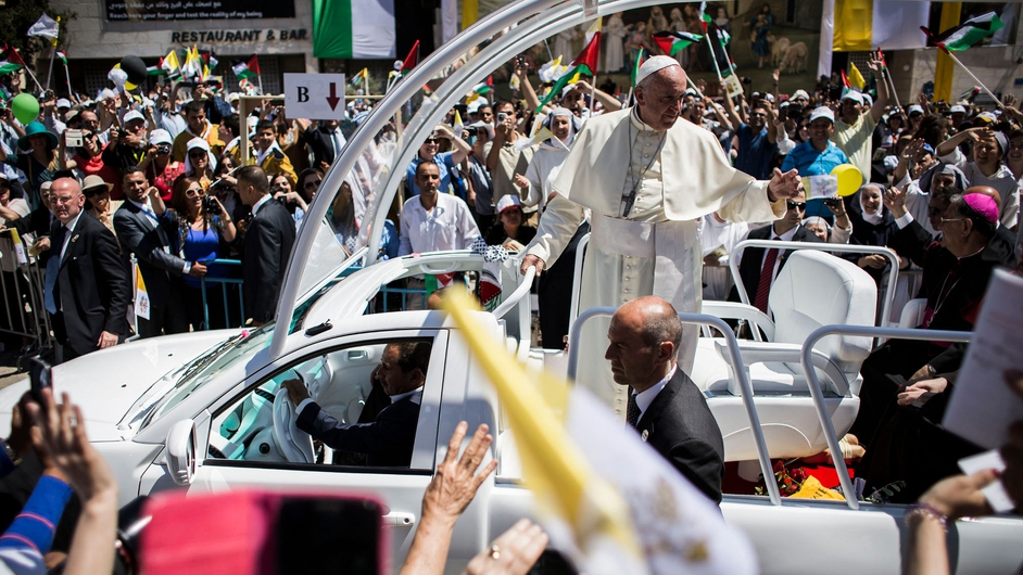 Pope Francis arrives in Manger Square to take part in a Mass held at the Church of Nativity, Bethlehem, West Bank