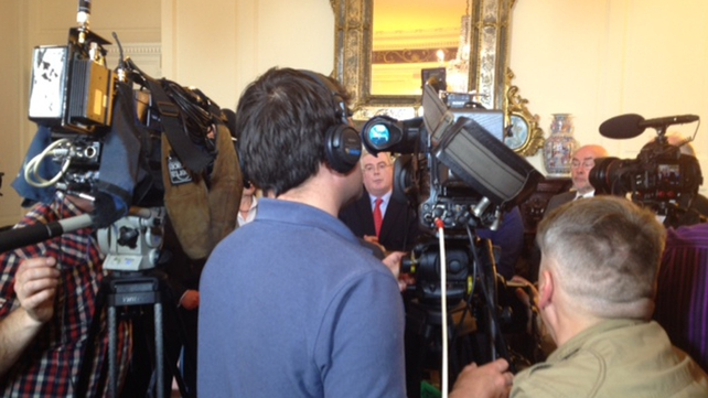 Eamon Gilmore announced his decision to resign at a press conference this afternoon