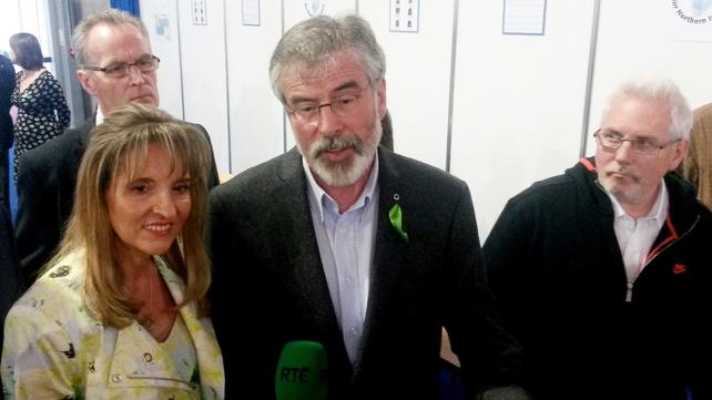 Martina Anderson celebrates with Sinn Féin President Gerry Adams