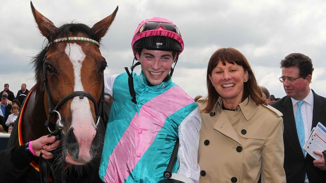 James Doyle and trainer Lady Cecil with Noble Mission after the win at the Curragh