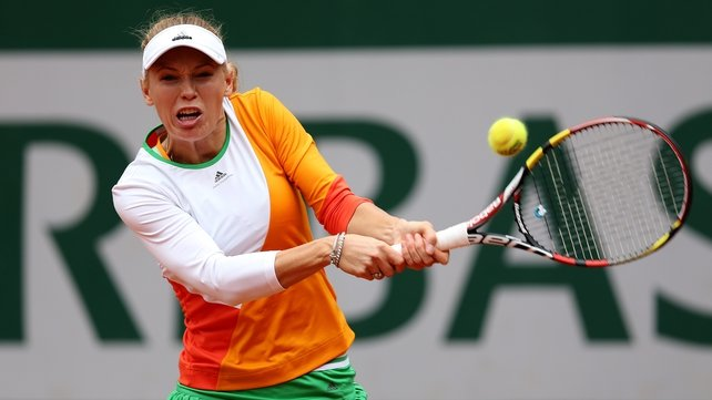 Caroline Wozniacki returns a shot during her French Open match against Yanina Wickmayer