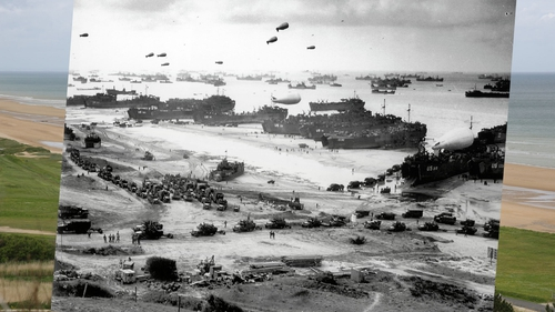 US vessels of all styles arrive at Omaha beach during the Allied invasion in Normandy