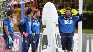Mattia Perin, Gianluigi Buffon, Antonio Mirante and Salvatore Sirigu of Italy at a training session in Florence