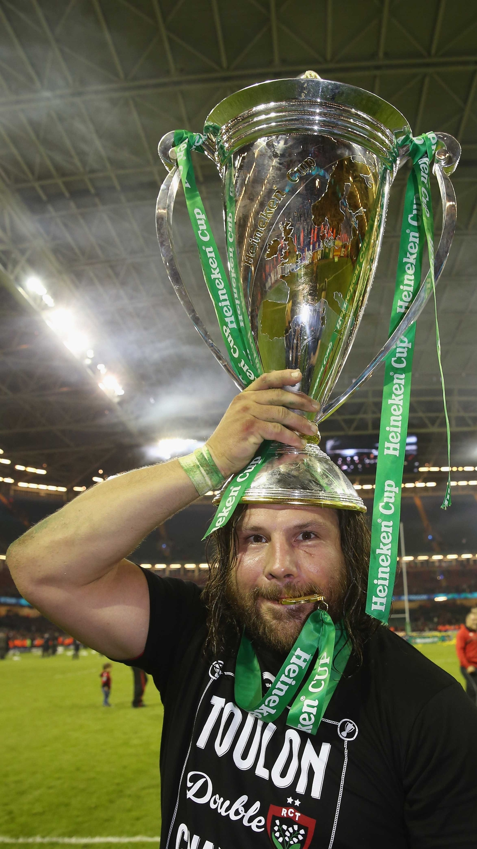 The inimitable Martin Castrogiovanni of Toulon celebrates after their victory during the Heineken Cup Final