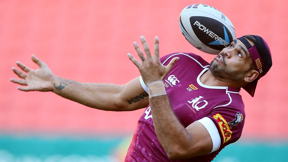 Greg Inglis almost catches a ball during the Queensland Maroons State of Origin Captain's Run