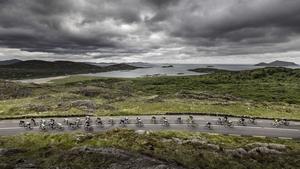 The An Post Rás Peleton passes by Derrynane Bay