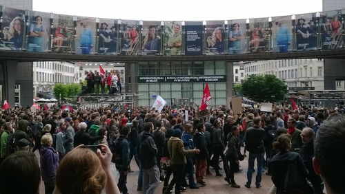 Demonstrators gathered outside the European Parliament building (Pic: Catherine Collins)