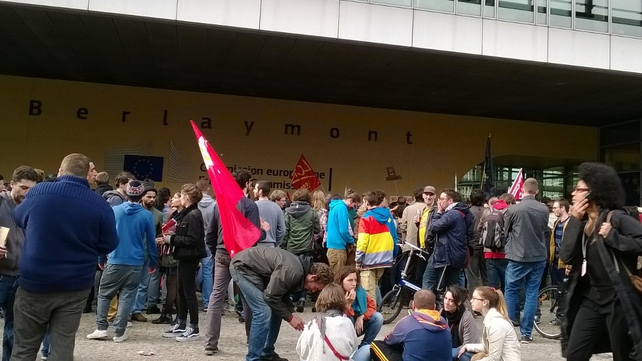 Demonstrators later moved to the European Commission (Pic: Catherine Collins)