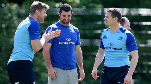 Jamie Heaslip, Rob Kearney and Brian O'Driscoll at Leinster training this week