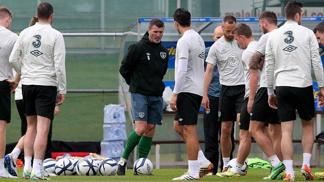 Roy Keane at training earlier today