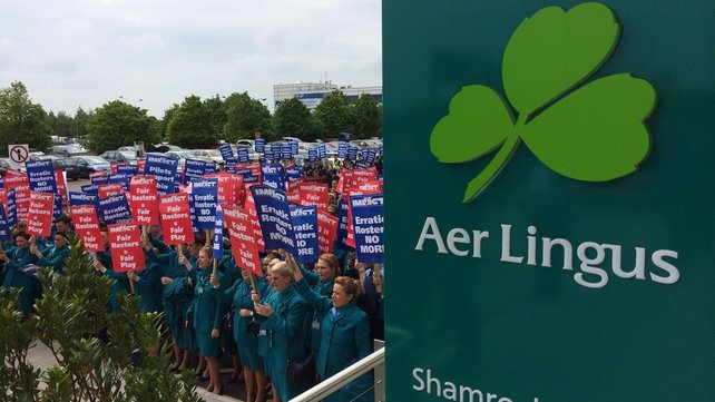 Several hundred cabin crew marched through Dublin Airport yesterday as part of their protest