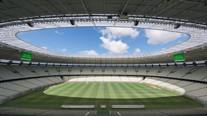 Workers constructed a new roof for Arena Castelão ahead of the 2014 World Cup