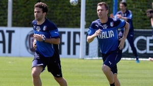 Giuseppe Rossi (L) and Antonio Cassano (R) train for the upcoming friendly