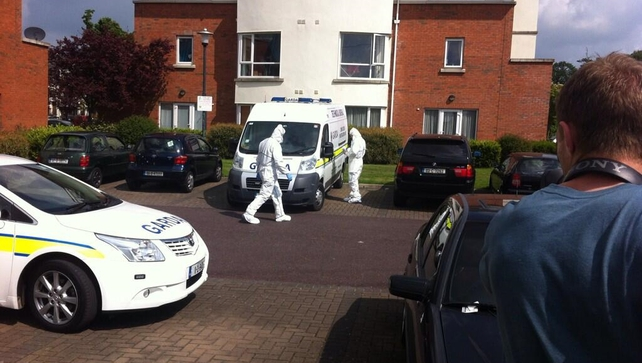 Gardaí carry out a technical examination of the apartment in Ongar