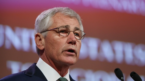 US Defense Secretary Chuck Hagel delivers his speech at the summit in Singapore