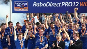 Leinster players celebrate a consecutive Pro12 triumph