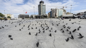 Pigeons roam around an empty Taksim square during the one year anniversary of the Gezi park and Taksim square demonstrations