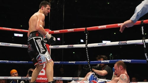 Carl Froch floors George Groves in his recent successful world title defence