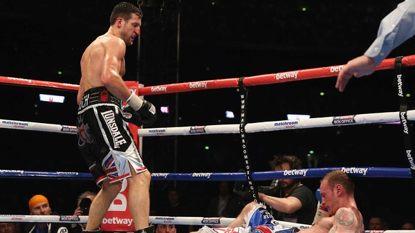 Carl Froch (r) landed the knockout punch in the eight round