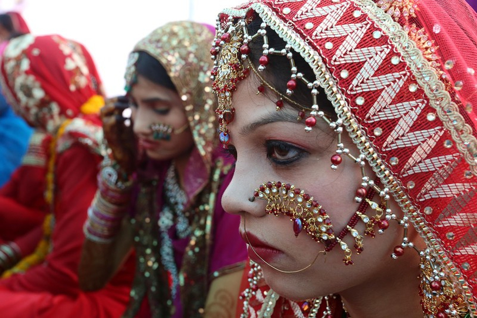 Muslim brides take part in a mass marriage ceremony in Bhopal, India