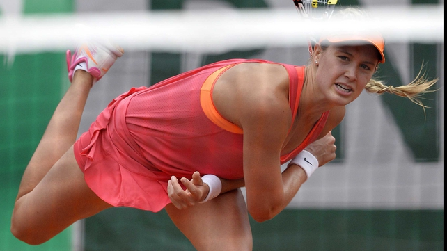 Eugenie Bouchard beat eighth seed Angelique Kerber 6-1 6-2