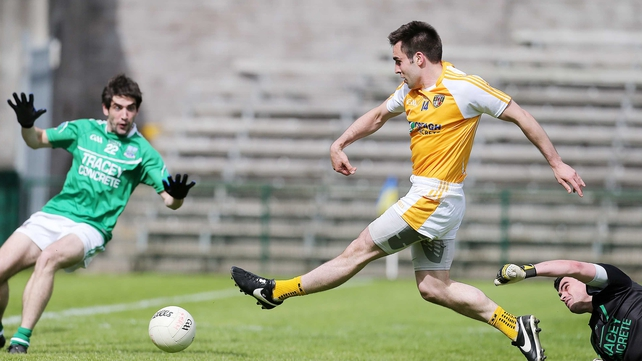 Kevin Niblock slotted home for Antrim's first goal after 39 minutes