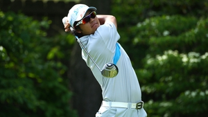 Hideki Matsuyama hits his 14th hole tee shot on the last round