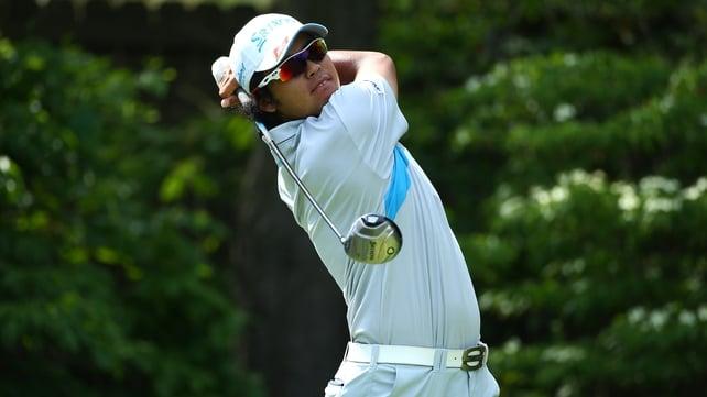 Hideki Matsuyama hits his 14th hole tee shot on the last roun