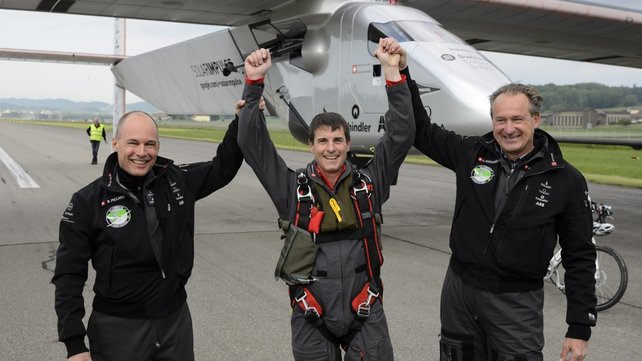 Solar Impulse's German test pilot  Markus Scherdel [middle] said everything worked as expected
