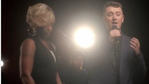 Mary J. Blige and Sam Smith in action