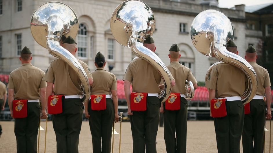Rehearsals take place for ceremonial 'Beating Retreat' event on Horse Guards Parade in London, England