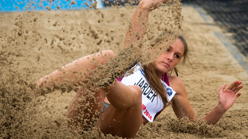 Erica Jarder of Sweden competes in the women's Long Jump event at the European Athletic Festival in Bydgoszcz, Poland