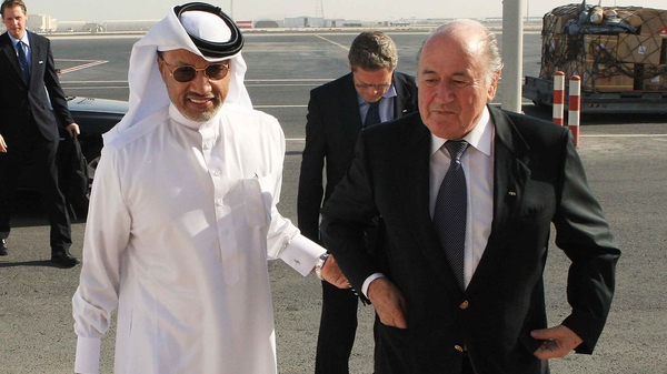 Former Qatari football official Mohamed Bin Hammam (L) and FIFA president Sepp Blatter (R) are at the centre of the corruption scandal