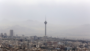 Milad Tower, Tehran, the day after a sandstorm engulfed the Iranian capital