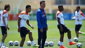 Louis van Gaal looks on at a training session