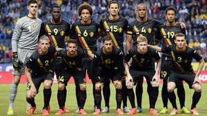 The Belgium team that lined up against Sweden