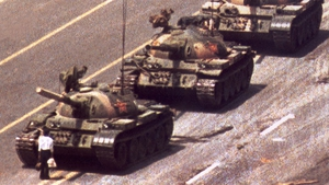 The iconic 'Tank Man' picture which emerged during the protests shows an individual in a white shirt attempt to slow down a column of tanks