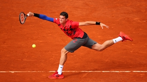 Canada's Milos Raonic during his men's singles quarter-final match against Novak Djokovic on day ten of the French Open