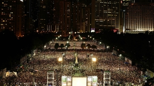 Thousands of people crowd Victoria Park, Hong Kong, to mark the 25th anniversary of Tiananmen Square protests