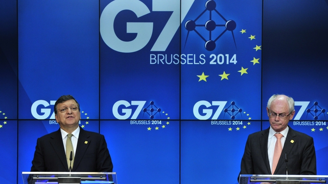 Jose Manuel Barroso and Herman Van Rompuy gave a joint news conference at the G7 summit
