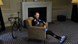 Team Sky's Chris Froome waits in the Rudding Park Hotel during the photocall in Harrogate, before setting off on a training ride
