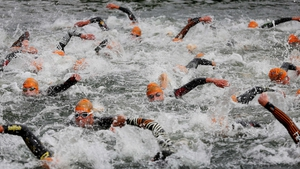 Competitors during the swim at the start of the PruHealth World Triathlon in London